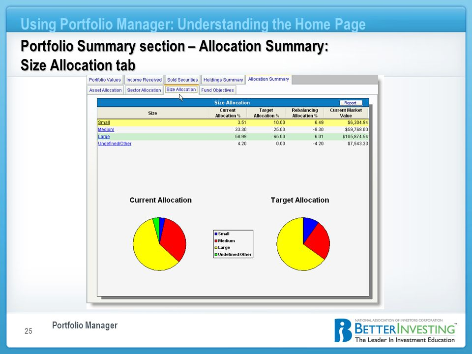 Portfolio Manager Using Portfolio Manager: Understanding the Home Page 25 Portfolio Summary section – Allocation Summary: Size Allocation tab