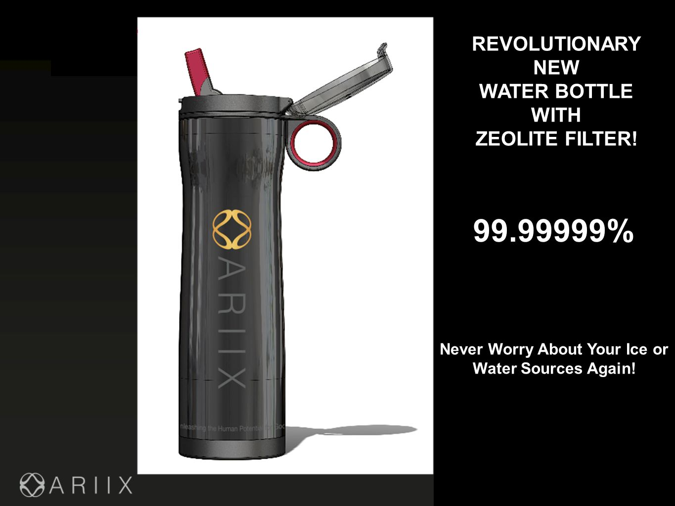 99.99999% REVOLUTIONARY NEW WATER BOTTLE WITH ZEOLITE FILTER.