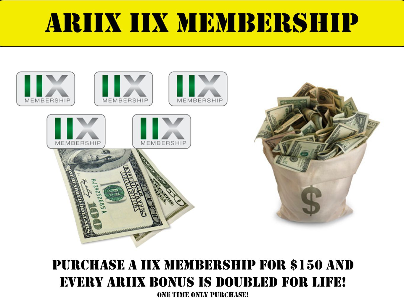 Purchase a iix membership for $150 And every ariix bonus is doubled for life! one time only purchase! ARIIX IIX MEMBERSHIP