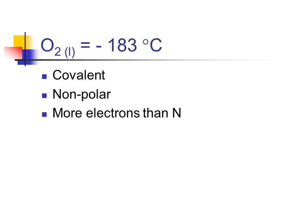 NO (l) = - 152 C Polar covalent So higher mp & bp than non-polar covalents