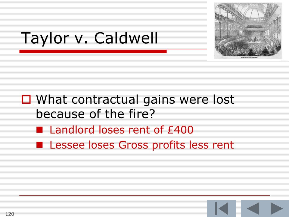 Taylor v. Caldwell What contractual gains were lost because of the fire.