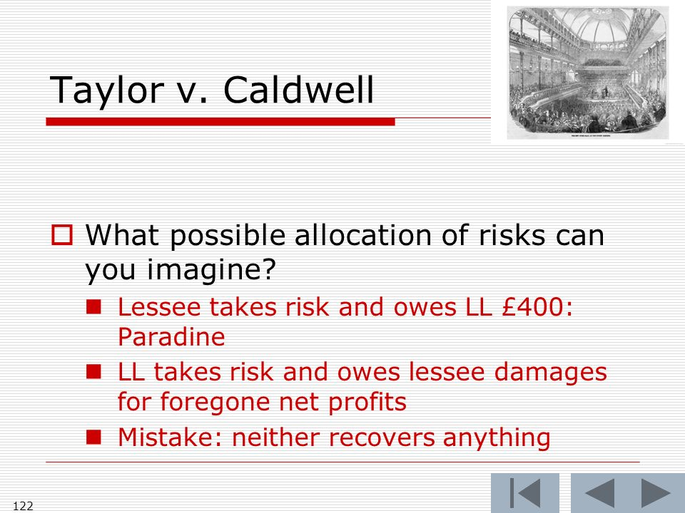 Taylor v. Caldwell What possible allocation of risks can you imagine.