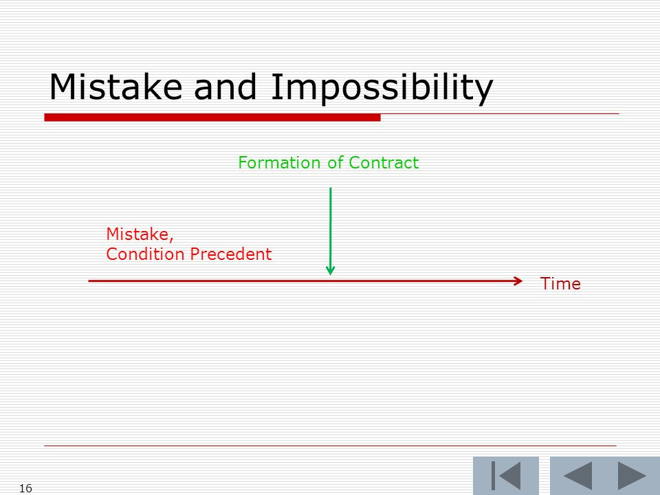 Mistake and Impossibility 16 Time Formation of Contract Mistake, Condition Precedent