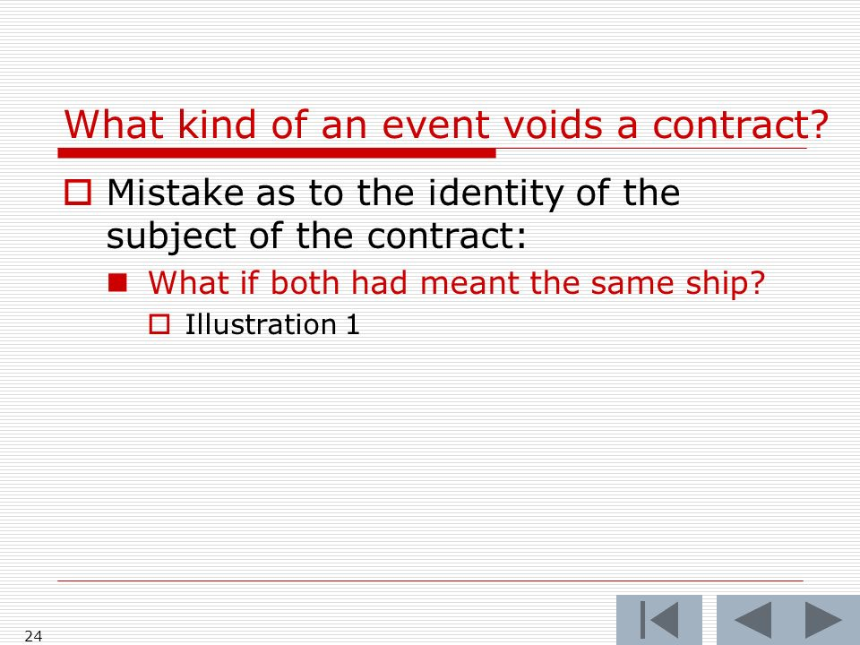 What kind of an event voids a contract.