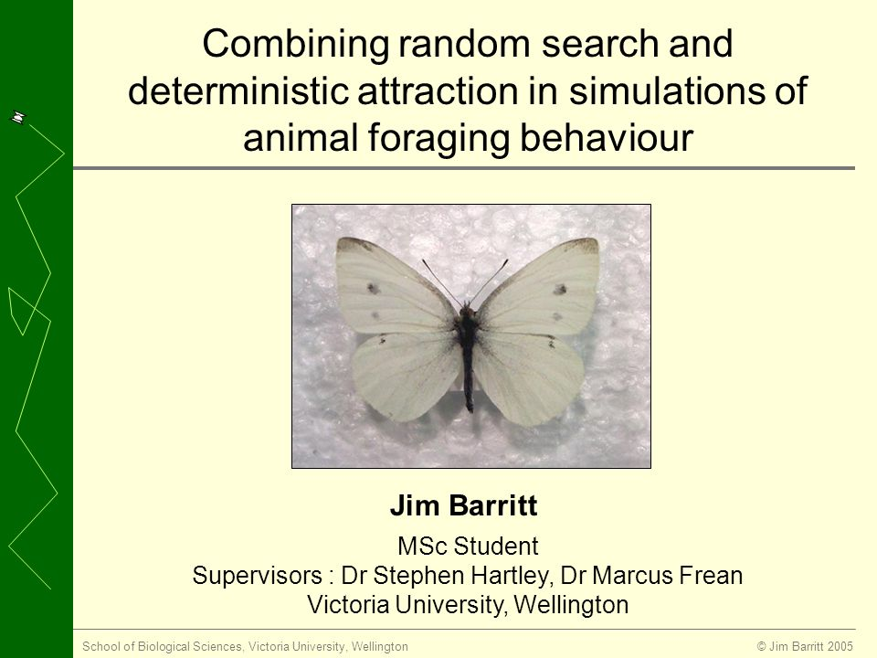 © Jim Barritt 2005School of Biological Sciences, Victoria University, Wellington MSc Student Supervisors : Dr Stephen Hartley, Dr Marcus Frean Victoria University, Wellington Jim Barritt Combining random search and deterministic attraction in simulations of animal foraging behaviour