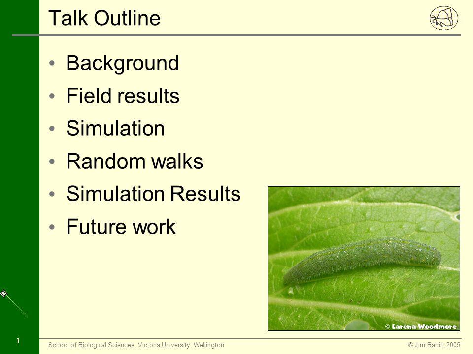 © Jim Barritt 2005School of Biological Sciences, Victoria University, Wellington 1 Talk Outline Background Field results Simulation Random walks Simulation Results Future work