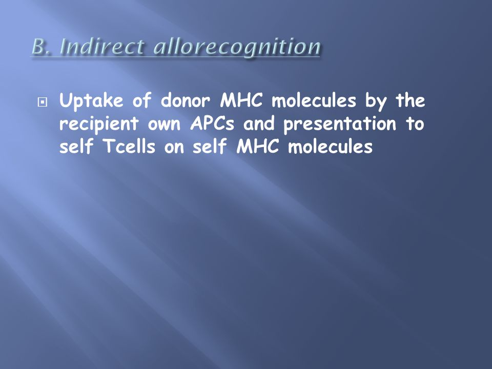 Uptake of donor MHC molecules by the recipient own APCs and presentation to self Tcells on self MHC molecules