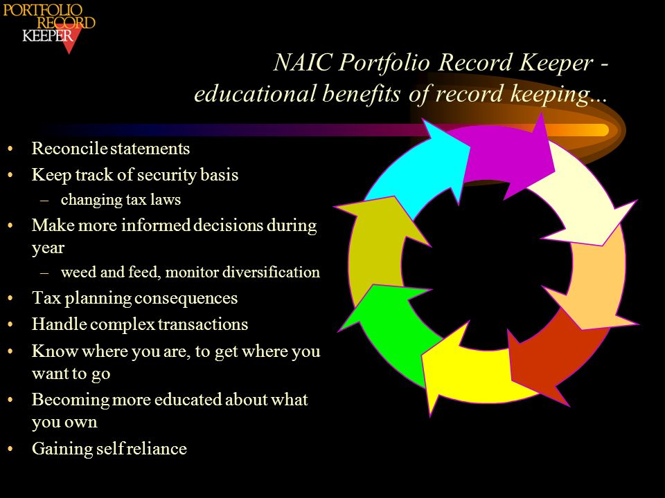 Reconcile statements Keep track of security basis –changing tax laws Make more informed decisions during year –weed and feed, monitor diversification Tax planning consequences Handle complex transactions Know where you are, to get where you want to go Becoming more educated about what you own Gaining self reliance NAIC Portfolio Record Keeper - educational benefits of record keeping...