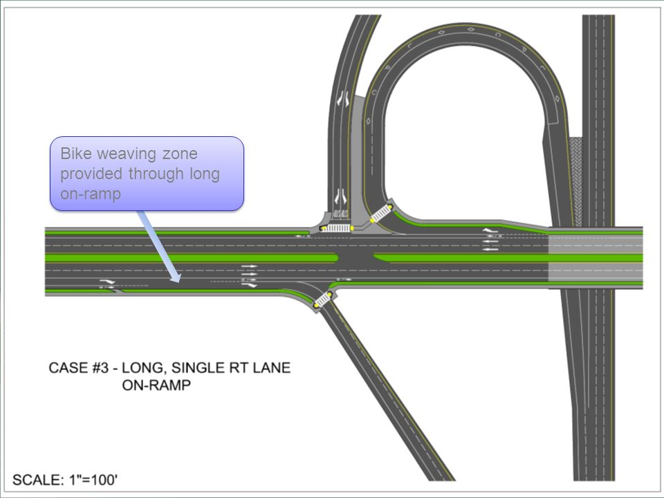 Bike weaving zone provided through long on-ramp