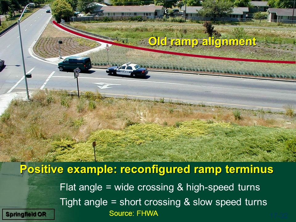 Source: FHWA 17-32 Flat angle = wide crossing & high-speed turns Tight angle = short crossing & slow speed turns Springfield OR Old ramp alignment Positive example: reconfigured ramp terminus