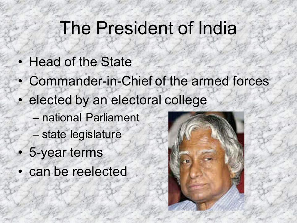 The President of India Head of the State Commander-in-Chief of the armed forces elected by an electoral college –national Parliament –state legislature 5-year terms can be reelected