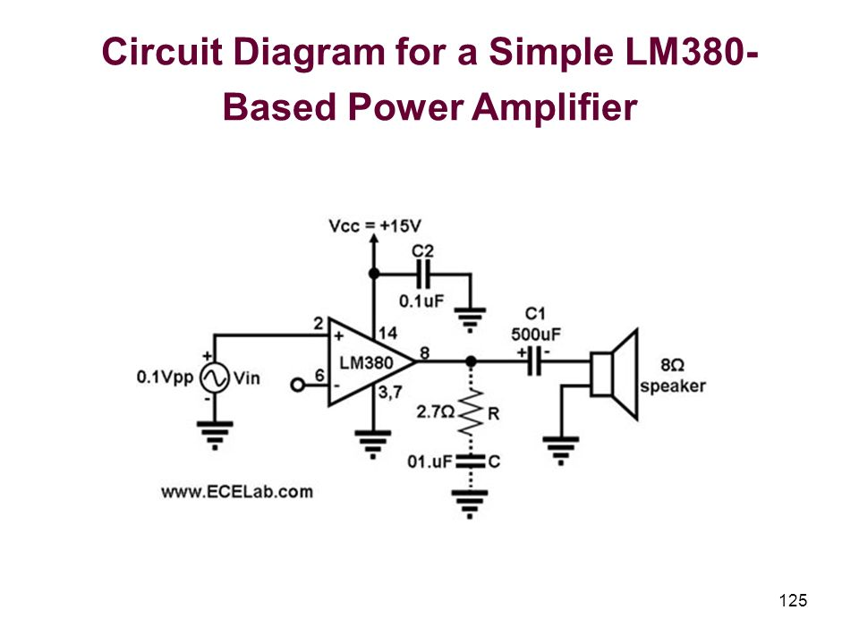 125 Circuit Diagram for a Simple LM380- Based Power Amplifier