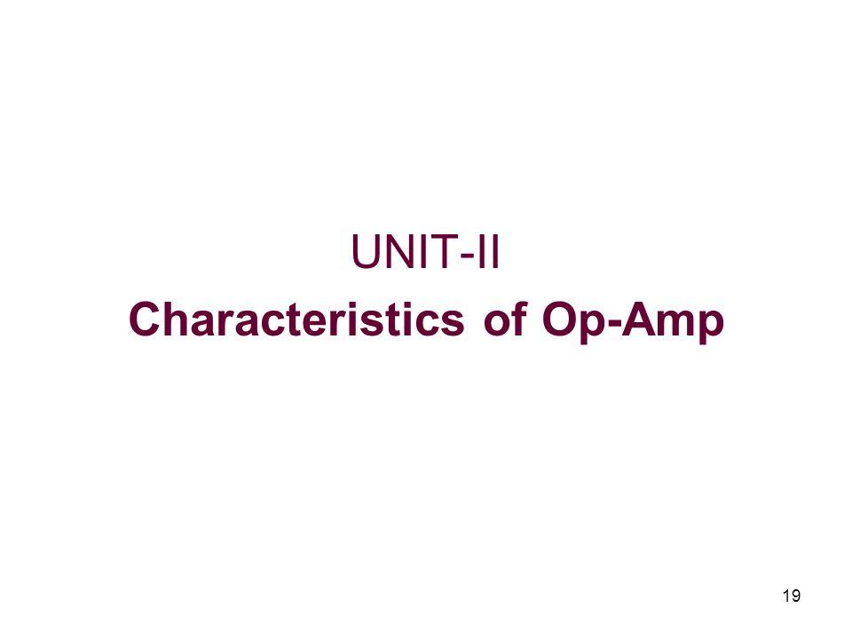 19 UNIT-II Characteristics of Op-Amp
