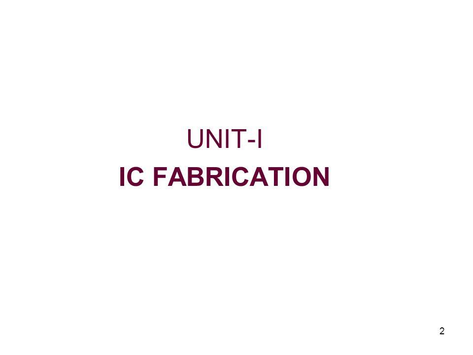 2 UNIT-I IC FABRICATION
