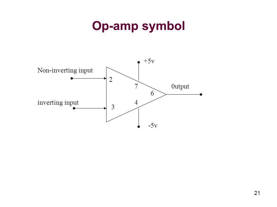 21 Op-amp symbol Non-inverting input inverting input 0utput +5v -5v 2 3 6 7 4
