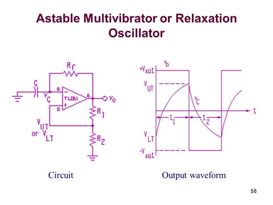 56 Astable Multivibrator or Relaxation Oscillator CircuitOutput waveform