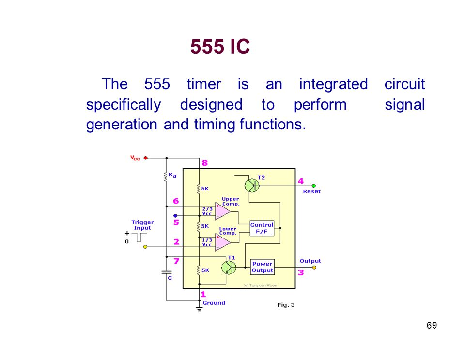 69 555 IC The 555 timer is an integrated circuit specifically designed to perform signal generation and timing functions.