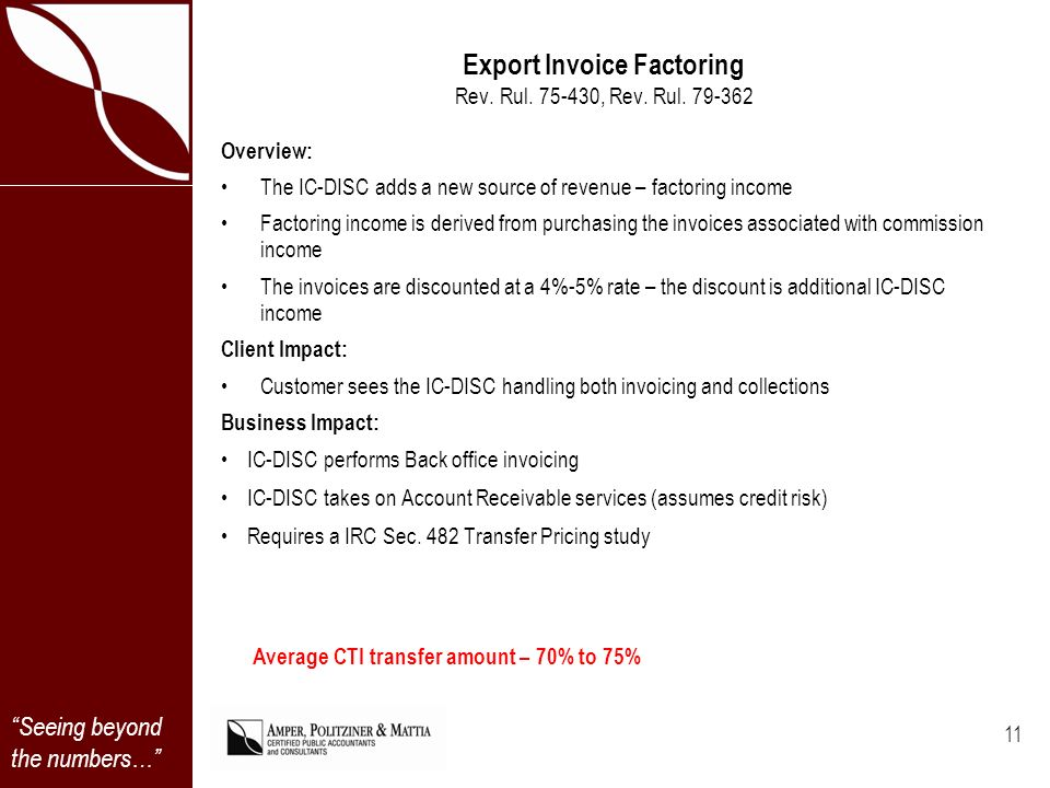 Seeing beyond the numbers… Export Invoice Factoring Rev.