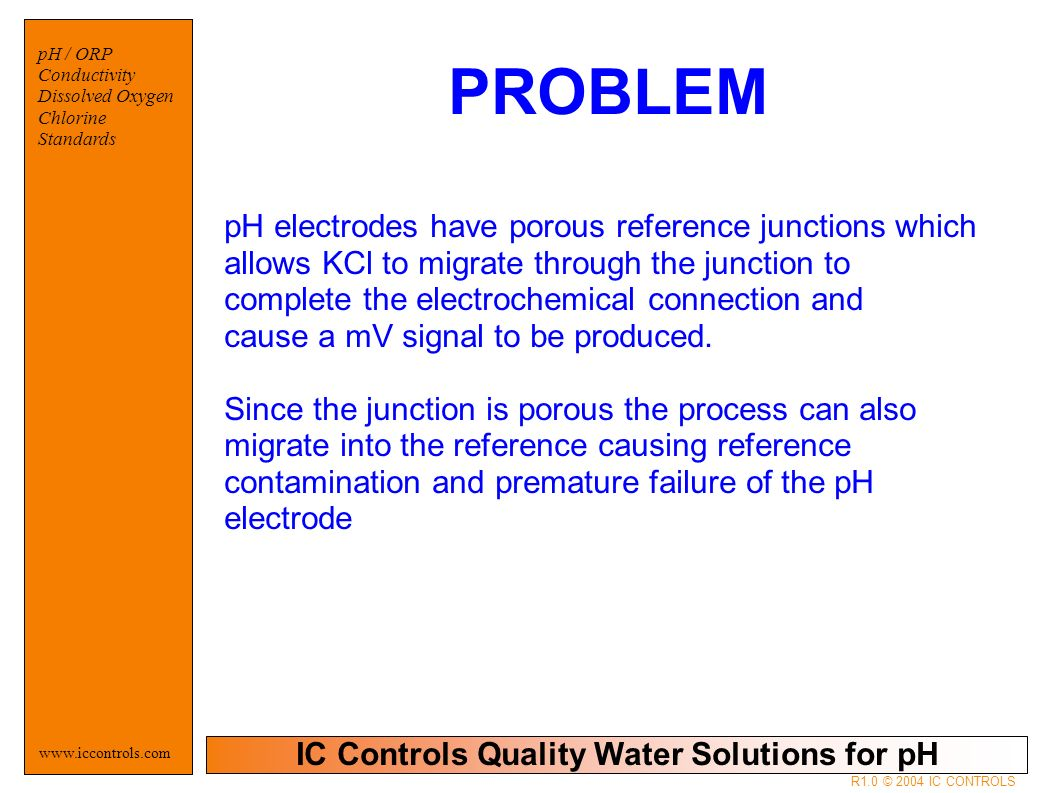 IC Controls Quality Water Solutions for pH www.iccontrols.com pH / ORP Conductivity Dissolved Oxygen Chlorine Standards R1.0 © 2004 IC CONTROLS pH electrodes have porous reference junctions which allows KCl to migrate through the junction to complete the electrochemical connection and cause a mV signal to be produced.
