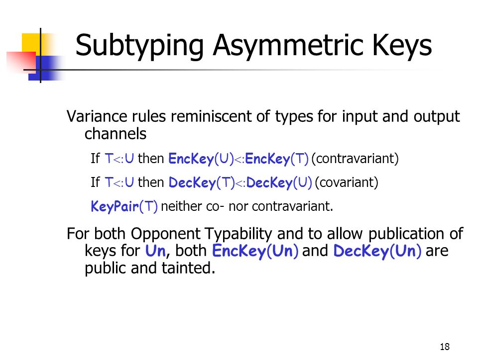 18 Subtyping Asymmetric Keys Variance rules reminiscent of types for input and output channels If T U then EncKey(U) EncKey(T) (contravariant) If T U then DecKey(T) DecKey(U) (covariant) KeyPair(T) neither co- nor contravariant.