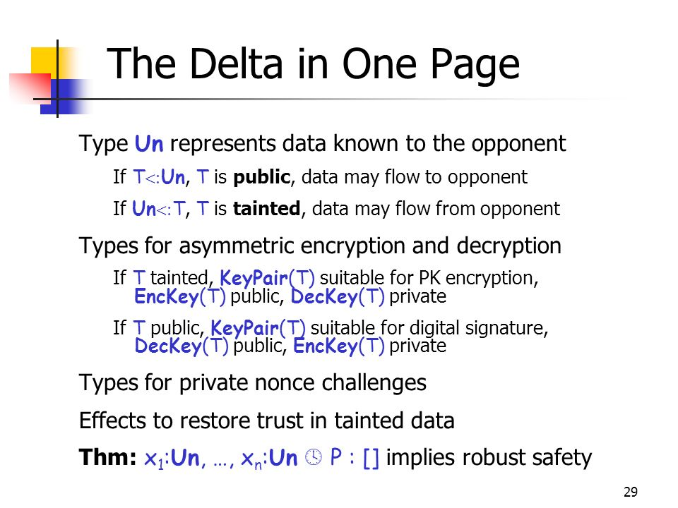 29 The Delta in One Page Type Un represents data known to the opponent If T Un, T is public, data may flow to opponent If Un T, T is tainted, data may flow from opponent Types for asymmetric encryption and decryption If T tainted, KeyPair(T) suitable for PK encryption, EncKey(T) public, DecKey(T) private If T public, KeyPair(T) suitable for digital signature, DecKey(T) public, EncKey(T) private Types for private nonce challenges Effects to restore trust in tainted data Thm: x 1 :Un, …, x n :Un P : [] implies robust safety