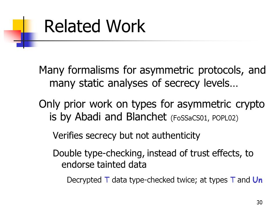 30 Related Work Many formalisms for asymmetric protocols, and many static analyses of secrecy levels… Only prior work on types for asymmetric crypto is by Abadi and Blanchet (FoSSaCS01, POPL02) Verifies secrecy but not authenticity Double type-checking, instead of trust effects, to endorse tainted data Decrypted T data type-checked twice; at types T and Un