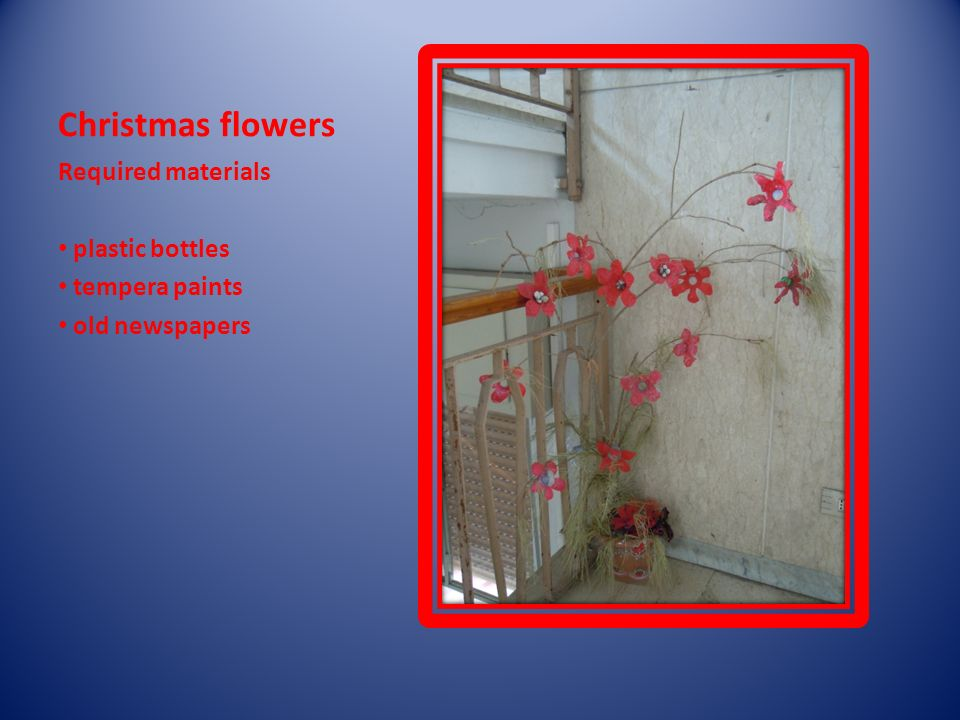Christmas flowers Required materials plastic bottles tempera paints old newspapers