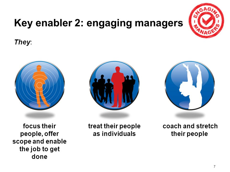 7 Key enabler 2: engaging managers They: focus their people, offer scope and enable the job to get done treat their people as individuals coach and stretch their people