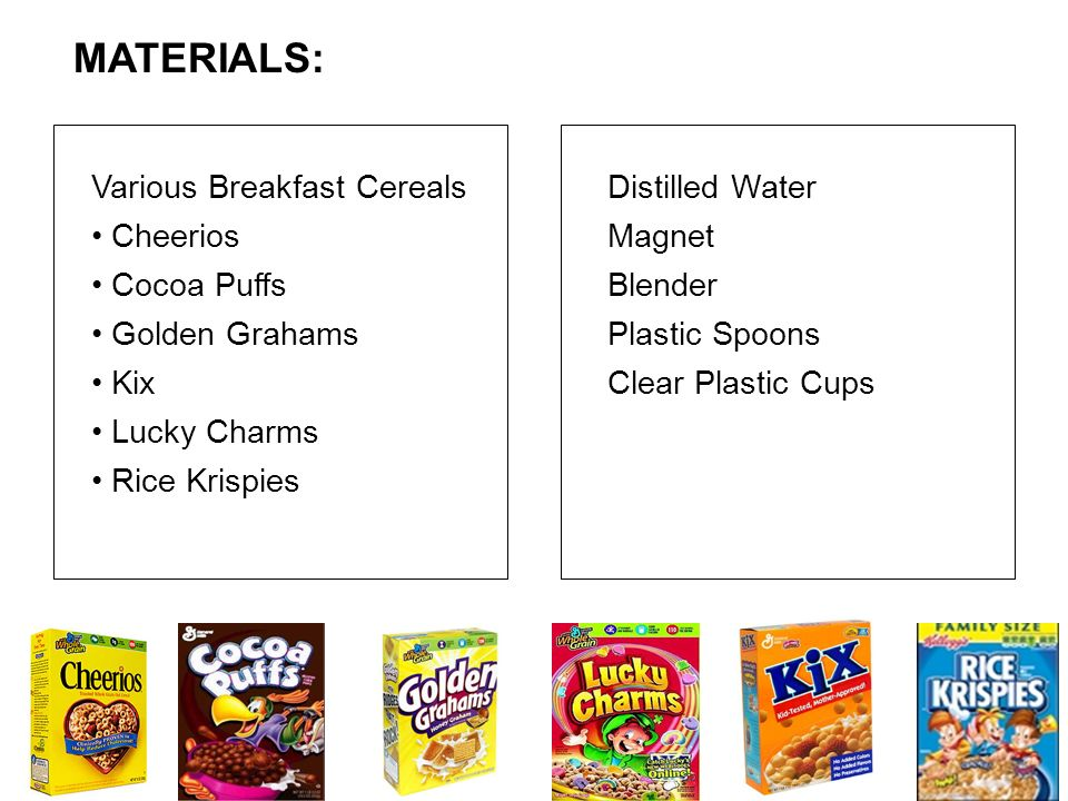 Various Breakfast Cereals Cheerios Cocoa Puffs Golden Grahams Kix Lucky Charms Rice Krispies Distilled Water Magnet Blender Plastic Spoons Clear Plast