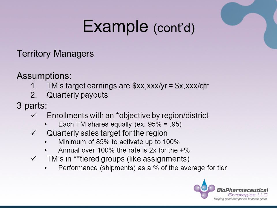 Example (contd) Territory Managers Assumptions: 1.TMs target earnings are $xx,xxx/yr = $x,xxx/qtr 2.Quarterly payouts 3 parts: Enrollments with an *objective by region/district Each TM shares equally (ex: 95% =.95) Quarterly sales target for the region Minimum of 85% to activate up to 100% Annual over 100% the rate is 2x for the +% TMs in **tiered groups (like assignments) Performance (shipments) as a % of the average for tier
