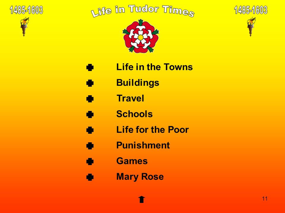 11 Life in the Towns Buildings Travel Punishment Schools Life for the Poor Games Mary Rose