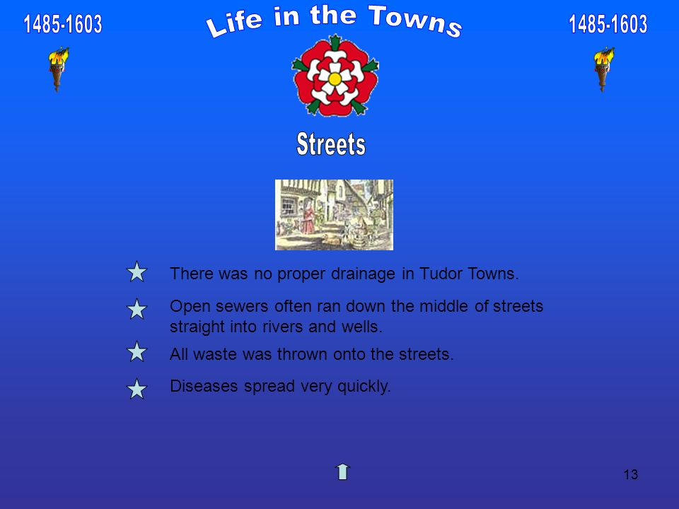 13 There was no proper drainage in Tudor Towns. Open sewers often ran down the middle of streets straight into rivers and wells. All waste was thrown