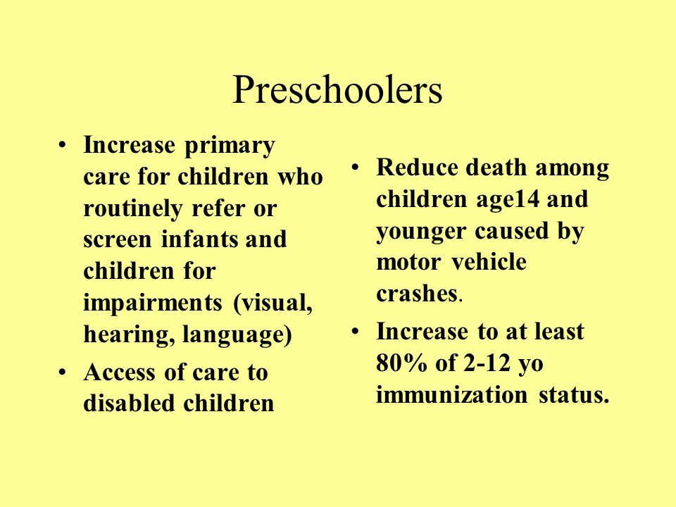 Preschoolers Increase primary care for children who routinely refer or screen infants and children for impairments (visual, hearing, language) Access of care to disabled children Reduce death among children age14 and younger caused by motor vehicle crashes.