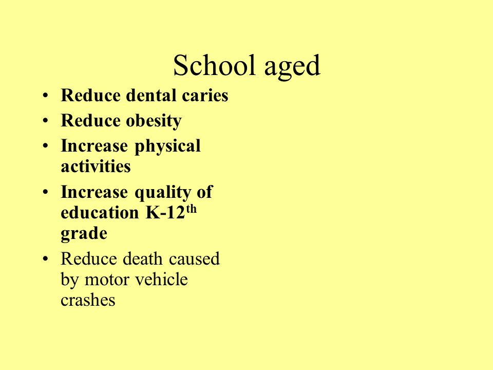 School aged Reduce dental caries Reduce obesity Increase physical activities Increase quality of education K-12 th grade Reduce death caused by motor vehicle crashes