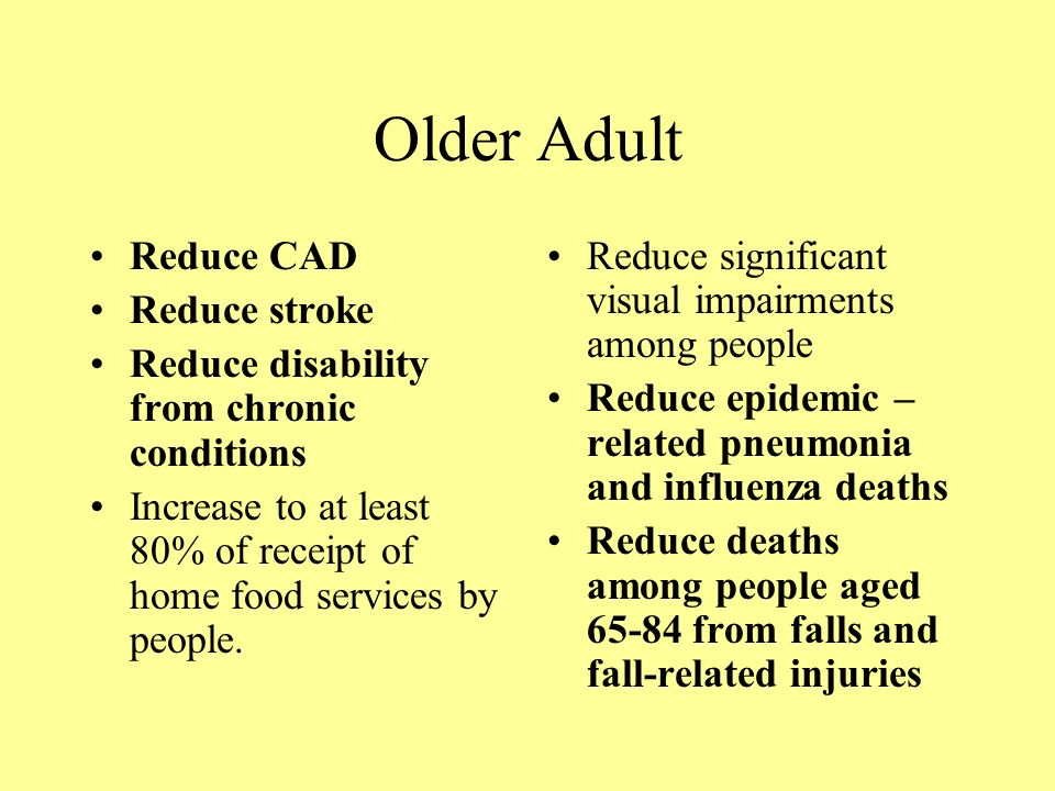 Older Adult Reduce CAD Reduce stroke Reduce disability from chronic conditions Increase to at least 80% of receipt of home food services by people.