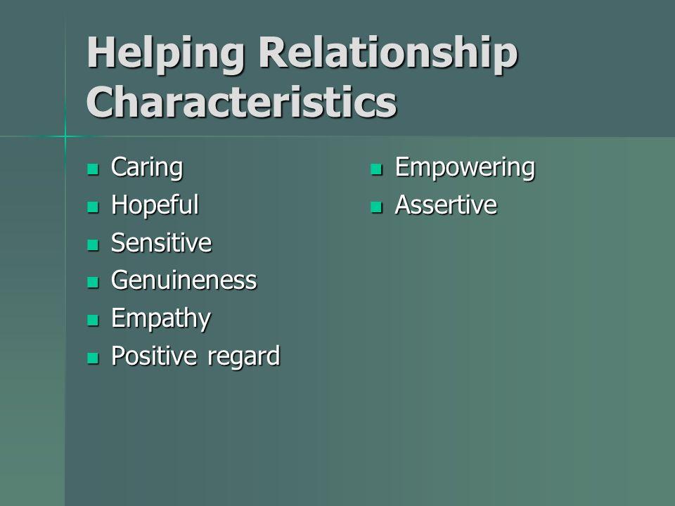 Helping Relationship Characteristics Caring Caring Hopeful Hopeful Sensitive Sensitive Genuineness Genuineness Empathy Empathy Positive regard Positive regard Empowering Empowering Assertive Assertive