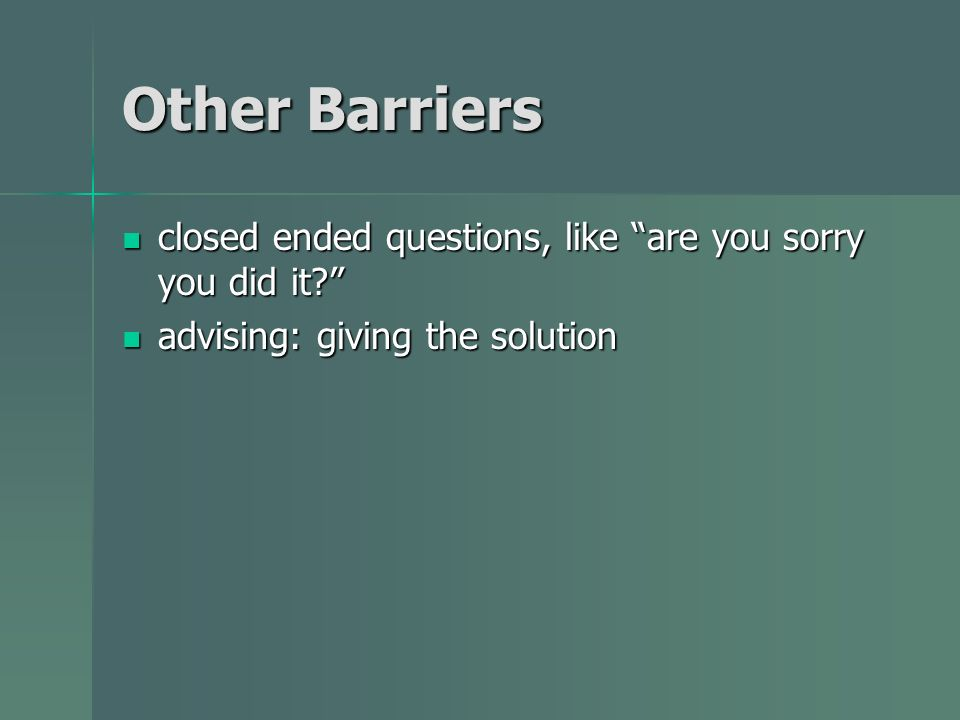 Other Barriers closed ended questions, like are you sorry you did it.