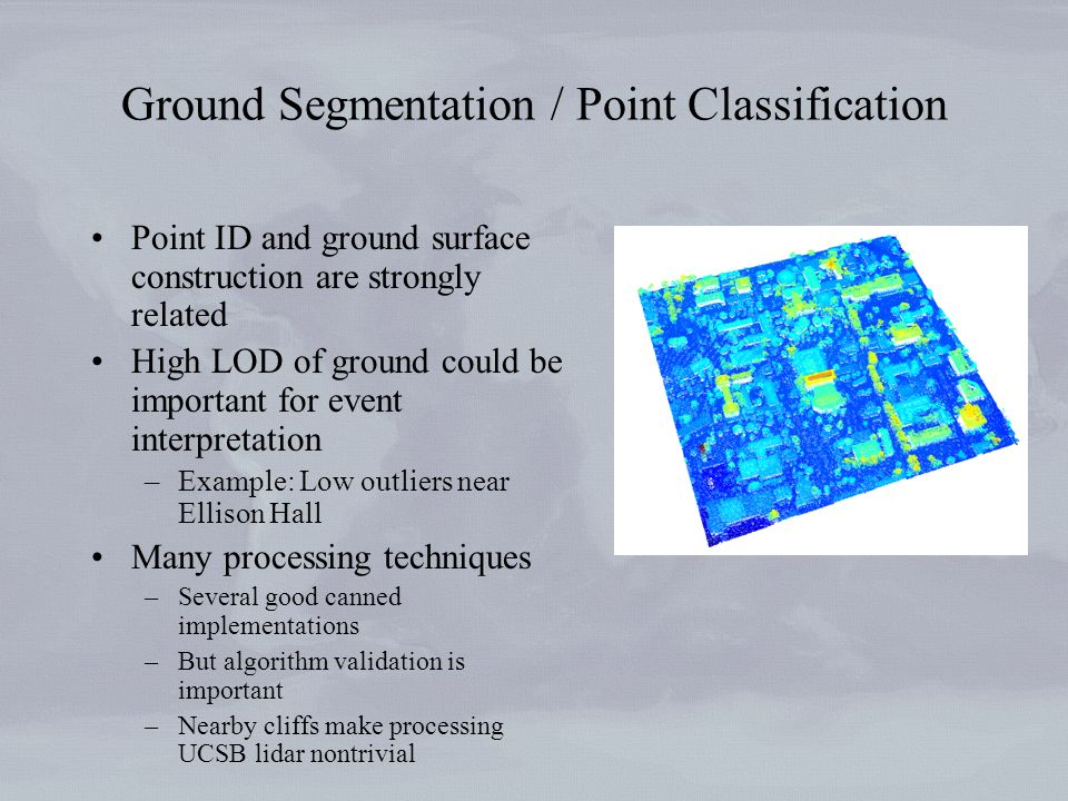 Ground Segmentation / Point Classification Point ID and ground surface construction are strongly related High LOD of ground could be important for eve