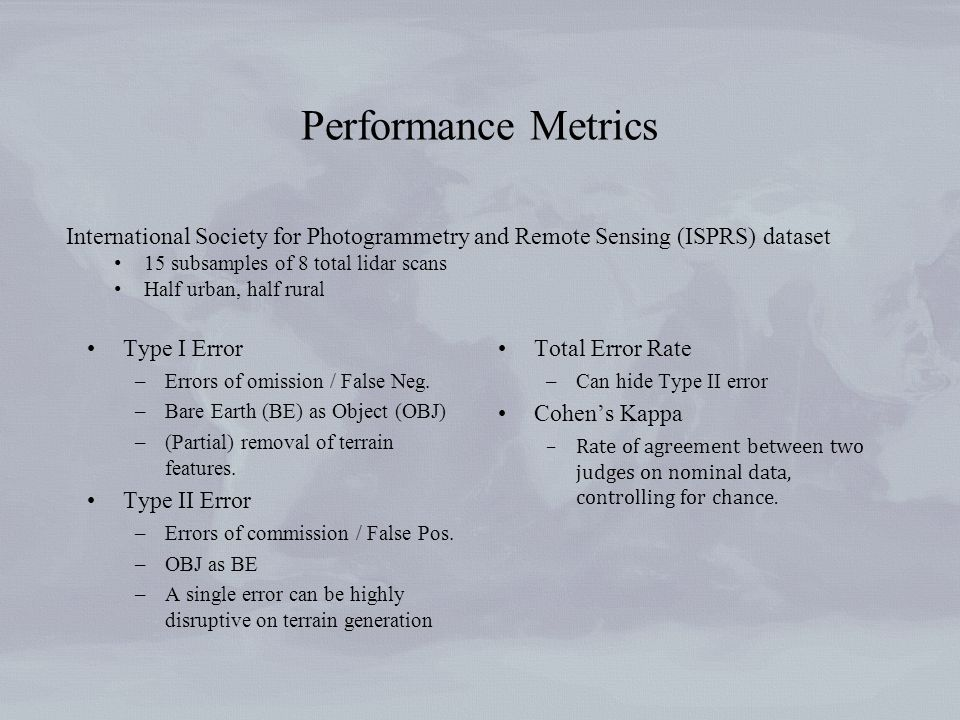 Performance Metrics Type I Error –Errors of omission / False Neg.