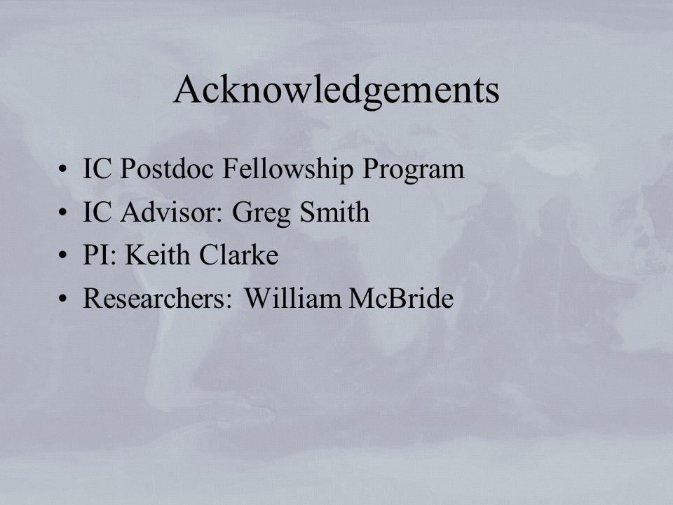 Acknowledgements IC Postdoc Fellowship Program IC Advisor: Greg Smith PI: Keith Clarke Researchers: William McBride