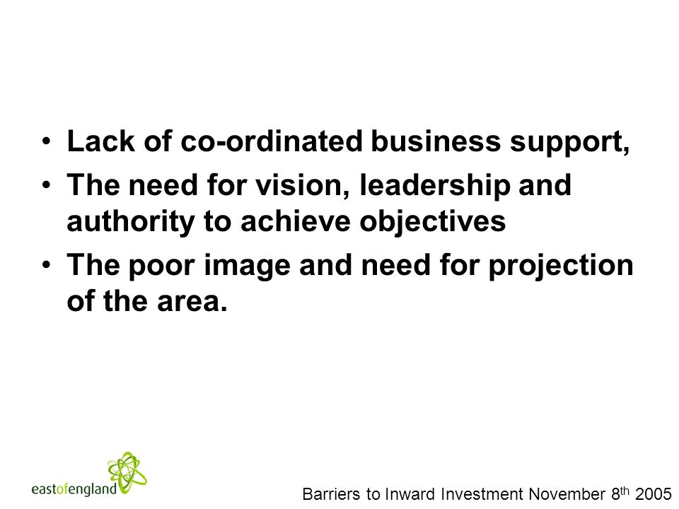 Barriers to Inward Investment November 8 th 2005 Lack of co-ordinated business support, The need for vision, leadership and authority to achieve objectives The poor image and need for projection of the area.