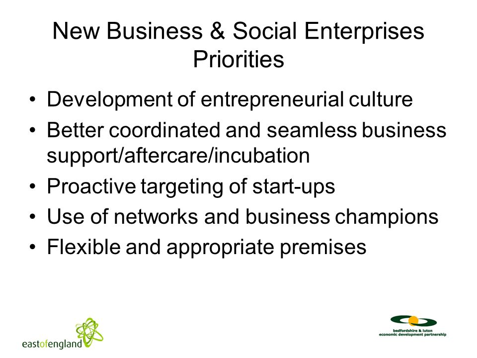New Business & Social Enterprises Priorities Development of entrepreneurial culture Better coordinated and seamless business support/aftercare/incubation Proactive targeting of start-ups Use of networks and business champions Flexible and appropriate premises