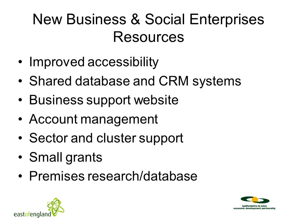 New Business & Social Enterprises Resources Improved accessibility Shared database and CRM systems Business support website Account management Sector