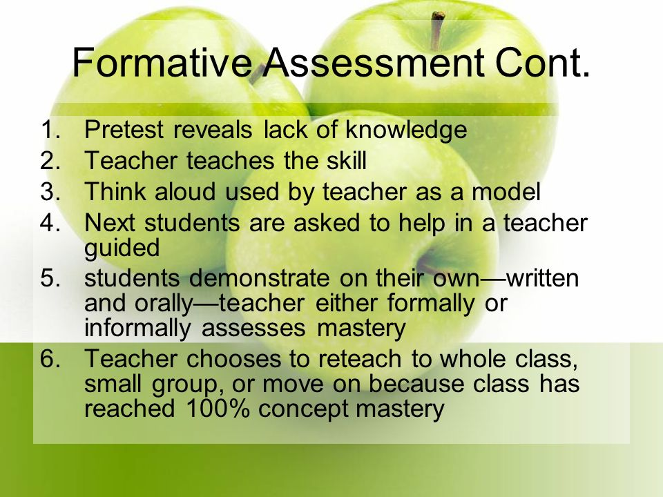 Formative Assessment Cont.