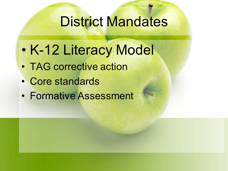 District Mandates K-12 Literacy Model TAG corrective action Core standards Formative Assessment
