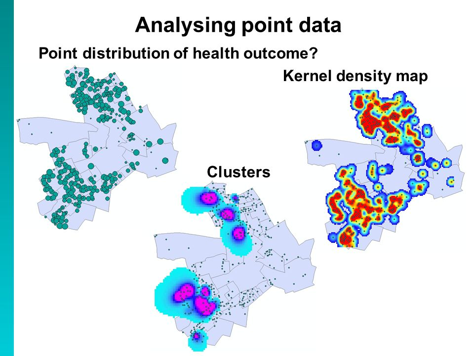 Point distribution of health outcome? Analysing point data Kernel density map Clusters