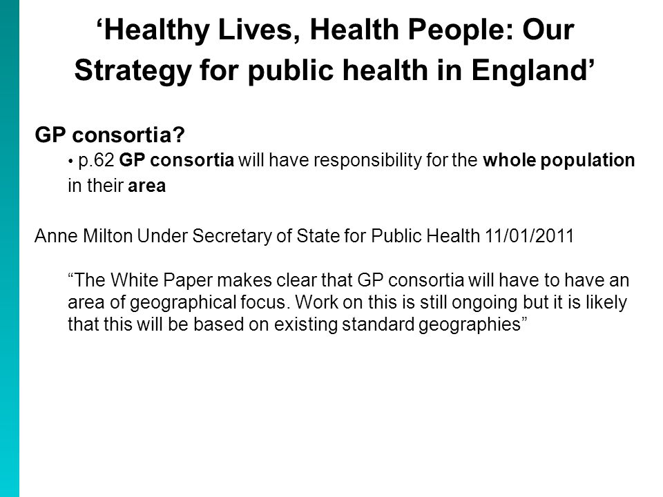 Healthy Lives, Health People: Our Strategy for public health in England GP consortia.