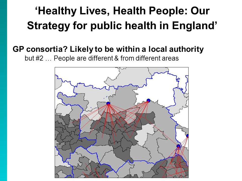 Healthy Lives, Health People: Our Strategy for public health in England GP consortia? Likely to be within a local authority but #2 … People are differ