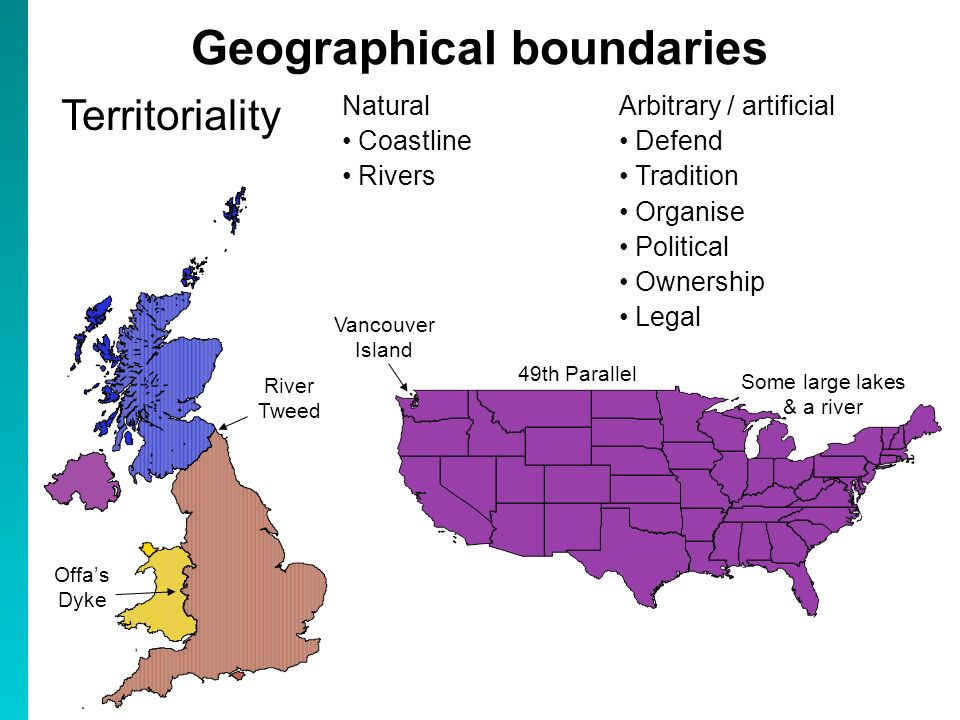 Geographical boundaries Territoriality River Tweed Offas Dyke 49th Parallel Some large lakes & a river Vancouver Island Natural Coastline Rivers Arbit
