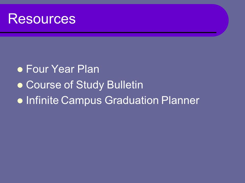 Resources Four Year Plan Course of Study Bulletin Infinite Campus Graduation Planner